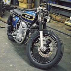 Blue Honda CB750 SOHC mild custom