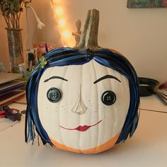 My Coraline pumpkin. Cheap Halloween, Halloween Birthday, Fall Halloween, Halloween Crafts, Pumpkin Art, Pumpkin Crafts, Pumpkin Carving, Pumpkin Painting, Pumpkin Ideas