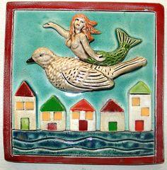 Ceramic Tile Mermaid on Bird Flying over Houses by tilebyfire