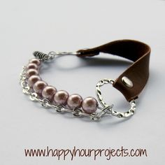 Happy Hour Projects: Mixed Media Leather Bracelet includes chain, beads, and leather. The leather strap uses a rivet. #DIY #jewelry