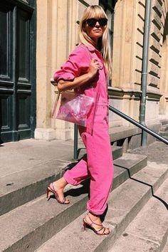 b1281d228e1 Boilersuit fashion trend  Jeanette Madsen wearing pink jumpsuit Copenhagen  Fashion Week 2018