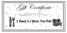 Bilderesultat for template gift voucher dinner movie