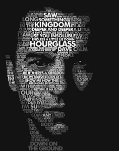 Typography portrait Dave Gahan, lead singer of Depeche Mode Typography Portrait, Enjoy The Silence, Martin Gore, Music Pics, Music Music, Dave Gahan, Come Undone, Cool Animations, Depeche Mode