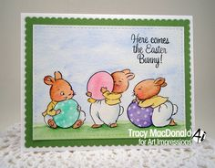 Today I'm sharing a very CAS card using Art Impressions  Hoppy Easter  set. This is a clear stamp set with nine individual stamps...