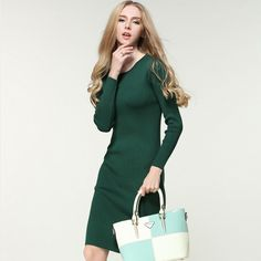 2016 New Women`s Fashion Classy Romantic Warm Sweater Dress For Party Evening Full Sleeve Women Autumn and Winter Solid Colour Fashion for women Women`s outfit Outfit ideas for women Style inspiration Women`s wardrobe Clothes for women Wear for women Classy Awesome Gorgeous Casual Street