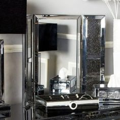 Diamond Glitz Noir Smoked Mirrored Vanity Dressing Table Mirror | Picture Perfect Home Mirrored Vanity, Mirrored Furniture, Vanity Mirrors, Beveled Mirror, Beveled Glass, 7 Drawer Dressing Table, Mirror Panels, Table Dimensions, Black Mirror
