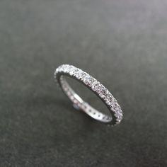 Matching wedding band    Eternity Diamond Wedding Ring in 14K White Gold by honngaijewelry, $1240.00