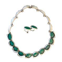 Antonio Pineda Chrysoprase Sterling Silver Necklace Earrings Set | 1stdibs.com