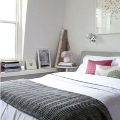Dark gray bedspread on white duvet, splash of color with pillows Grey And White Bedding, White Duvet, Grey Bedding, Gray Headboard, Gray Bedspread, Grey Bedroom Decor, Bedroom Red, Home Bedroom, Bedroom Sconces