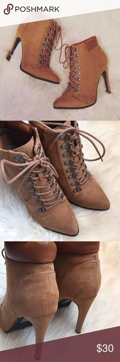 """Brown Suede Lace-up Heeled Ankle Booties In good condition, minor scuffing on insides at toes, as shown in pics. Faux suede material, lace up style similar to timberlands, heel height is 4.5"""", height from bottom heel to top boot is 8 1/4"""", pointed toe. ❌NO TRADES OR PAYPAL❌ Forever 21 Shoes Lace Up Boots"""