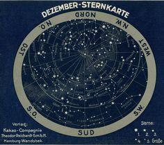 "C. 1900 antique star chart, 13x11"""