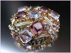 Vintage Signed Marcel Boucher Purple Amethyst Tone Brooch Pin