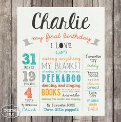 First Birthday Chalkboard sign Printable - white 1st birthday Chalk board poster - Paper background - DIGITAL FILE! - THIS LISTING IS FOR A