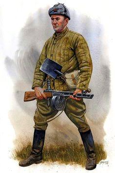 Soviet infantryman in padded telogreika uniform Ww2 Uniforms, German Uniforms, Military Uniforms, Ww2 History, Military History, Ddr Museum, Military Drawings, Soviet Army, Red Army