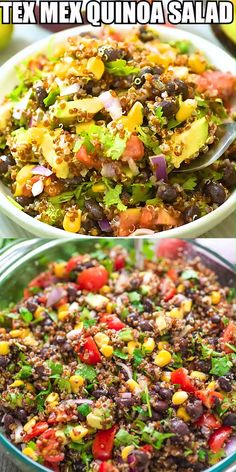Tex Mex Quinoa Salad This Mexicanstyle Quinoa Salad is loaded with black beans corn tomatoes avocados red onion and cilantro Simple healthy and incredibly delicious youll. Salad Recipes Healthy Lunch, Salad Recipes For Dinner, Chicken Salad Recipes, Vegetarian Recipes, Healthy Eating, Healthy Salads For Dinner, Recipes With Beans Healthy, Simple Salad Recipes, Simple Healthy Meals