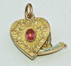 Rowan and Rowan : Fairy cherub Gold Heart Locket, Heart Of Gold, With All My Heart, Rowan, Cherub, Cupid, Georgian, Gold Rings, Vintage Jewelry