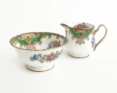 Shelley Sheraton sugar bowl and creamer, pattern number 1945 – 1966 by CardCurios on Etsy Vintage High Tea, Baroque Pattern, Sugar Bowls And Creamers, Eating Raw, Bone China, Bones, Numbers, Etsy, Dice