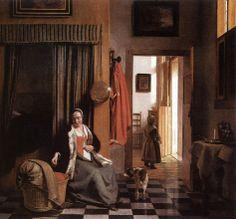 DE HOOCH Pieter - Dutch (Rotterdam 1629-1684 Amsterdam) ~ The Mother