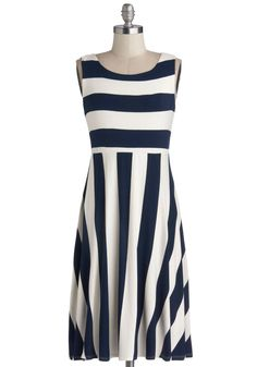 Byline Bliss Dress - Bold, evenly spaced, high-contrast stripes. Type 4.