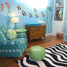 Wendy Bowman - nurseries - turquoise, turquoise walls, turquoise wall color, fish mural, under the water mural, under the water nursery, und...