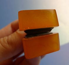 a10 Vintage USSR men jewelry Pressed Orange Baltic Amber CUFFLINKS 14g marked KM #KM