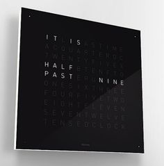Another word clock; Qlocktwo by Biegert & Funk is a clock with no hands and no numbers, just words Word Clock, Clock Art, Rgb Led, Cool Clocks, Unique Clocks, Modern Clock, Modern Wall, Modern Contemporary, Digital Clocks
