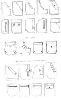 Fashion vocab - types of pockets Technical drawings of pockets – 10 photos Still more pocket ideas Sewing Hacks, Sewing Tutorials, Sewing Projects, Techniques Couture, Sewing Techniques, Fashion Design Drawings, Fashion Sketches, Dress Sewing Patterns, Clothing Patterns
