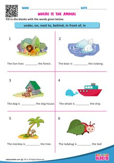 edubuzzkids - Free printable prepositions for kindergarten that allow your kids or students to form a sentence with suitable prepositions in given blanks. English Grammar For Kids, Learning English For Kids, Teaching English Grammar, English Lessons For Kids, English Abc, English Worksheets For Kindergarten, English Grammar Worksheets, 1st Grade Worksheets, Free Worksheets