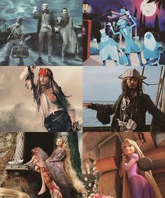 Annie Leibovitz's Disney Dream Portraits - The Hitchhiking Ghosts, Capt Jack Sparrow, Rapunzel