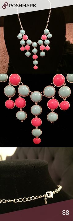 """Charming Charlie's Coral & Blue Bubble Necklace Charming Charlie's Coral & Blue Bubble Necklace! Fun statement necklace with coral and light blue bubbles set in silver. Second from middle strands are missing last bubble, but it's not noticeable! Necklace is 16"""" long with silver lobster clasp closure. Buy more and save more with my jewelry bundling deals! 😊💎💖 Charming Charlie Jewelry Necklaces"""