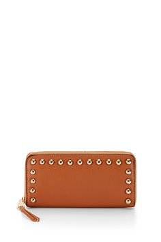 Ava Zip Wallet With Studs - This small textured leather wallet fits all your cards, but won't weigh you down. It's cute compact size is ideal for the girl on the go.     Includes gift box