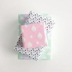 Wrapping #panda#raindrop#tape #icecream #illustration #clouds #mint #softpink#pastel