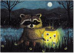 Raccoon Fireflies Nature Painting Artwork   by DreamCatchingStudio