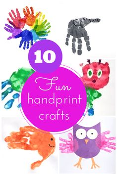 10 amazing handprint craft ideas + lots of other lovely ideas gathered here. Craft Projects For Kids, Crafts For Kids To Make, Craft Ideas, Kids Crafts, Adult Crafts, Diy Projects, Cute Crafts, Easy Crafts, Arts And Crafts