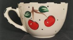 Mary Engelbreit Cherry Cherries Polka Dots Gaetano Pottery Large Soup Coffee Mug
