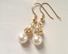 Gold Bridal Earrings Golden Crystal Earrings by somethingjeweled
