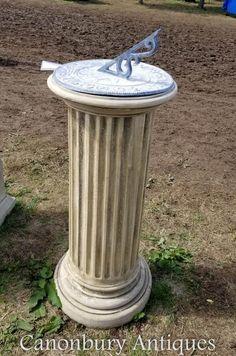 Classical Stone Doric Sundial Garden Art Time