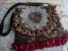 Upcycled Brown Needlepoint Gypsy Bag.