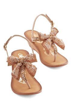 Kickin' and Gleamin' Wedge in Gold | Mod Retro Vintage Sandals | Love a Bow