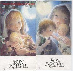 2 Postales navidad FERRANDIZ: virgenes con niños