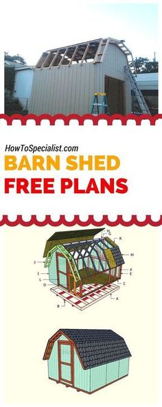 How to build a barn shed - Easy to follow plans, ideas and instructions for building a 10x12 shed with a gambrel roof! Free plans at www.howtospecialist.com #shed #storage: