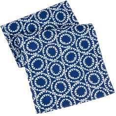 """Table Runners Blue & White Machine wash. Polyester. 90"""" x 15"""" Wide. 1/4"""" hem.  Price: $39.00"""