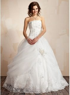 Wedding Dresses - $278.99 - Ball-Gown Strapless Floor-Length Organza Satin Wedding Dress With Ruffle Lace Beading Flower(s)  http://www.dressfirst.com/Ball-Gown-Strapless-Floor-Length-Organza-Satin-Wedding-Dress-With-Ruffle-Lace-Beading-Flower-S-002021817-g21817