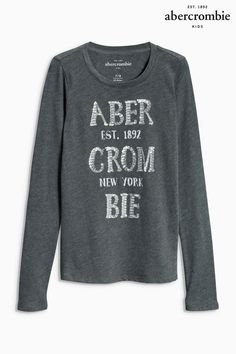 Buy Grey Abercrombie & Fitch Foil Logo Tee from the Next UK online shop
