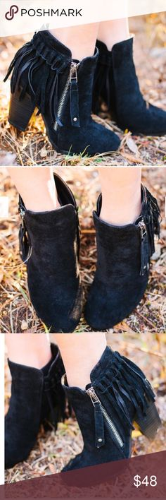 "Hello Fall Fringe Bootie - BLACK Super comfy and chic faux suede fringe bootie. Fits TRUE TO SIZE.   ALSO AVAILABLE IN BEIGE, BLACK AND GREY   Faux suede with fringe behind heel. Working side zipper.   Heel measures appx. 3.25""   NO TRADE, PRICE FIRM Bellanblue Shoes"