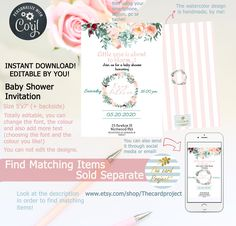 Digital Invitations, Baby Shower Invitations, Happy Birthday Template, Little Rose, Watercolor Design, Birthday Wishes, Bloom, Templates