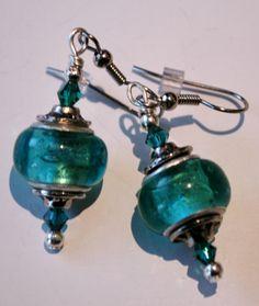 teal pandora style earring