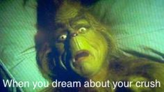 On my gosh! I'm gonna die! Having a dream about the crush. Grinch face.