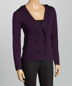 Love this Nancy Yang Purple & Black Double-Breasted Cardigan by Nancy Yang on #zulily! #zulilyfinds