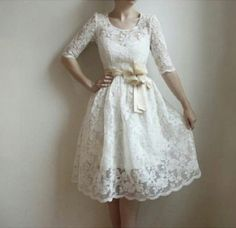 #Long sleeve white lace dress with bow Lace and Jean #2dayslook #fashion #nice #Lace #Jeans www.2dayslook.com